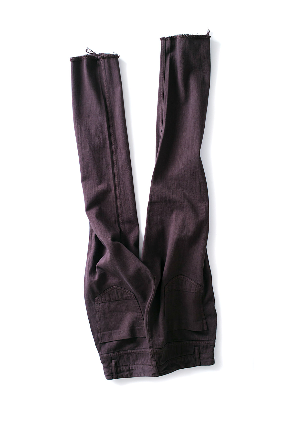 bukht : Pin Tuck Loose Denim Pants (Brown)