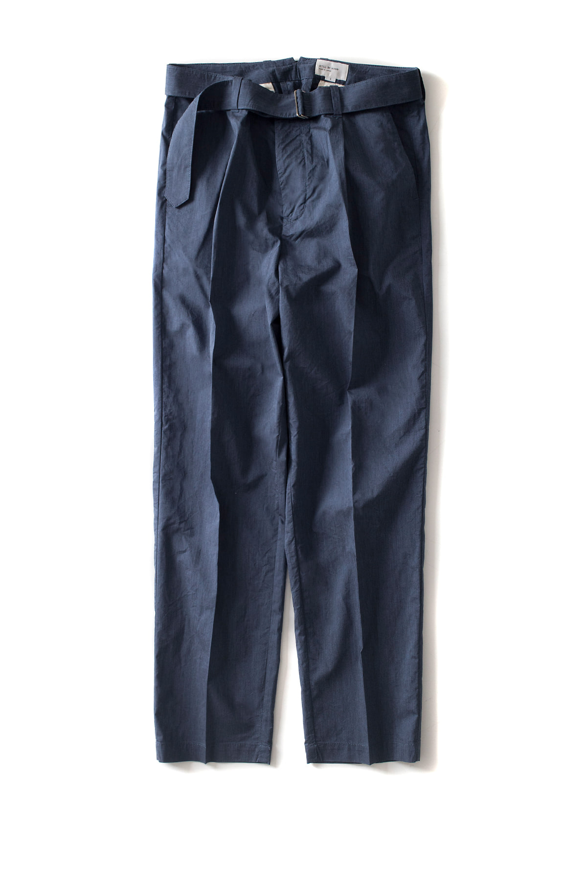 Still by Hand : Melange Face Belted Pants (Blue)