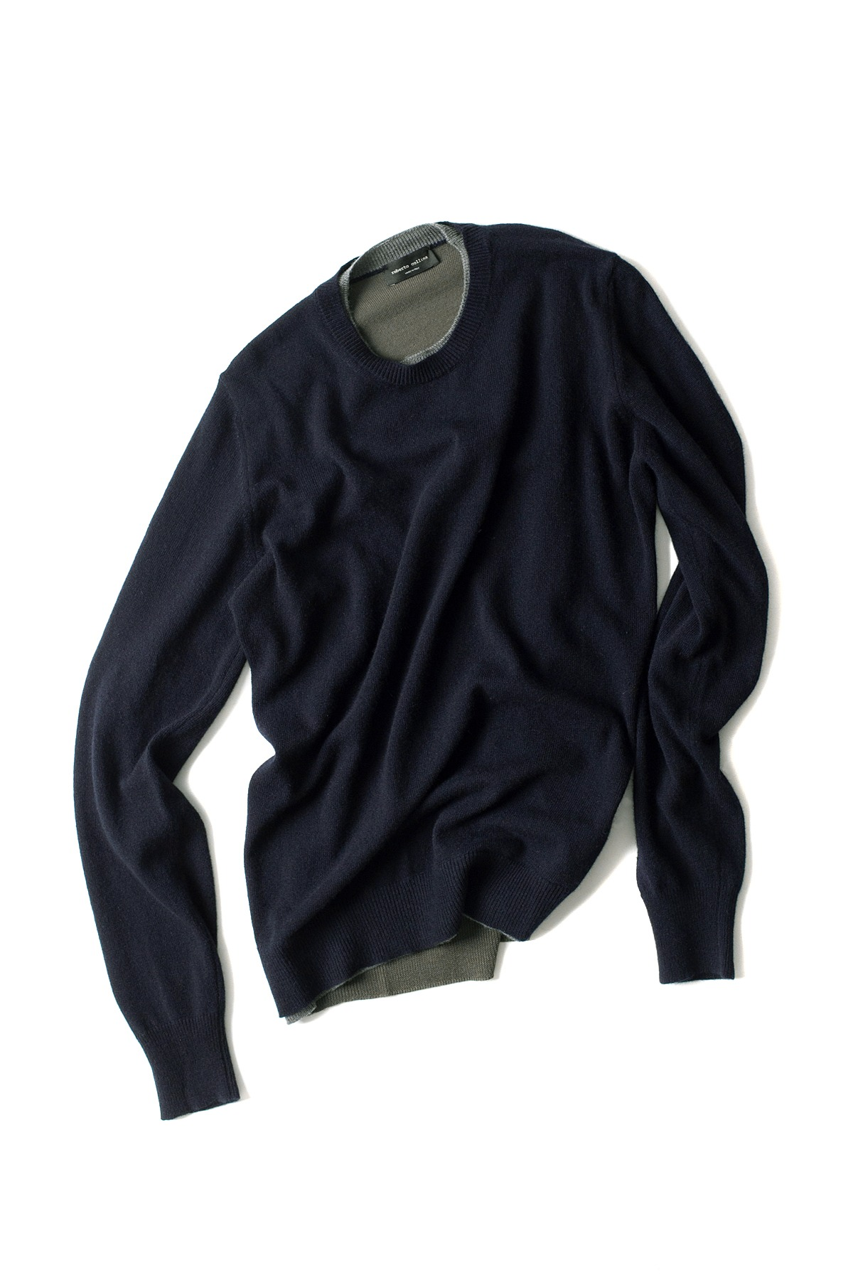 roberto collina : L/S Knit Round Neck Sweater (Navy)