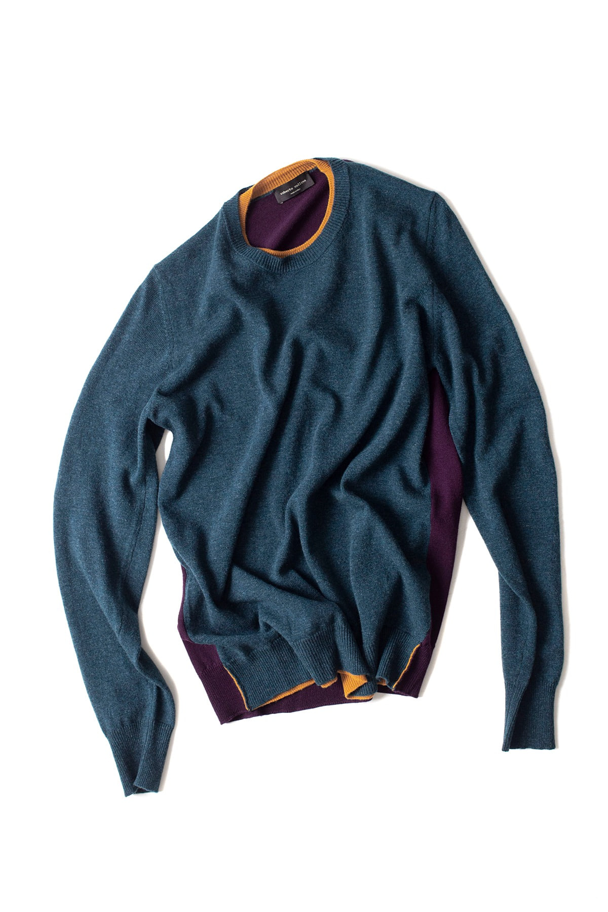 roberto collina : L/S Knit Round Neck Sweater (Blue Green)