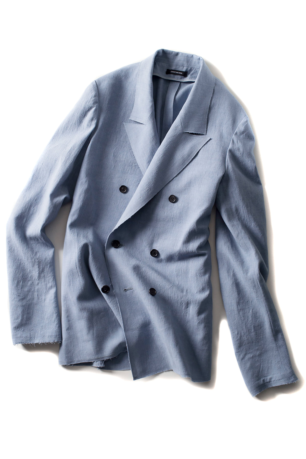 Christian Dada : Alpaca Linen Double Breasted Jacket (Blue)