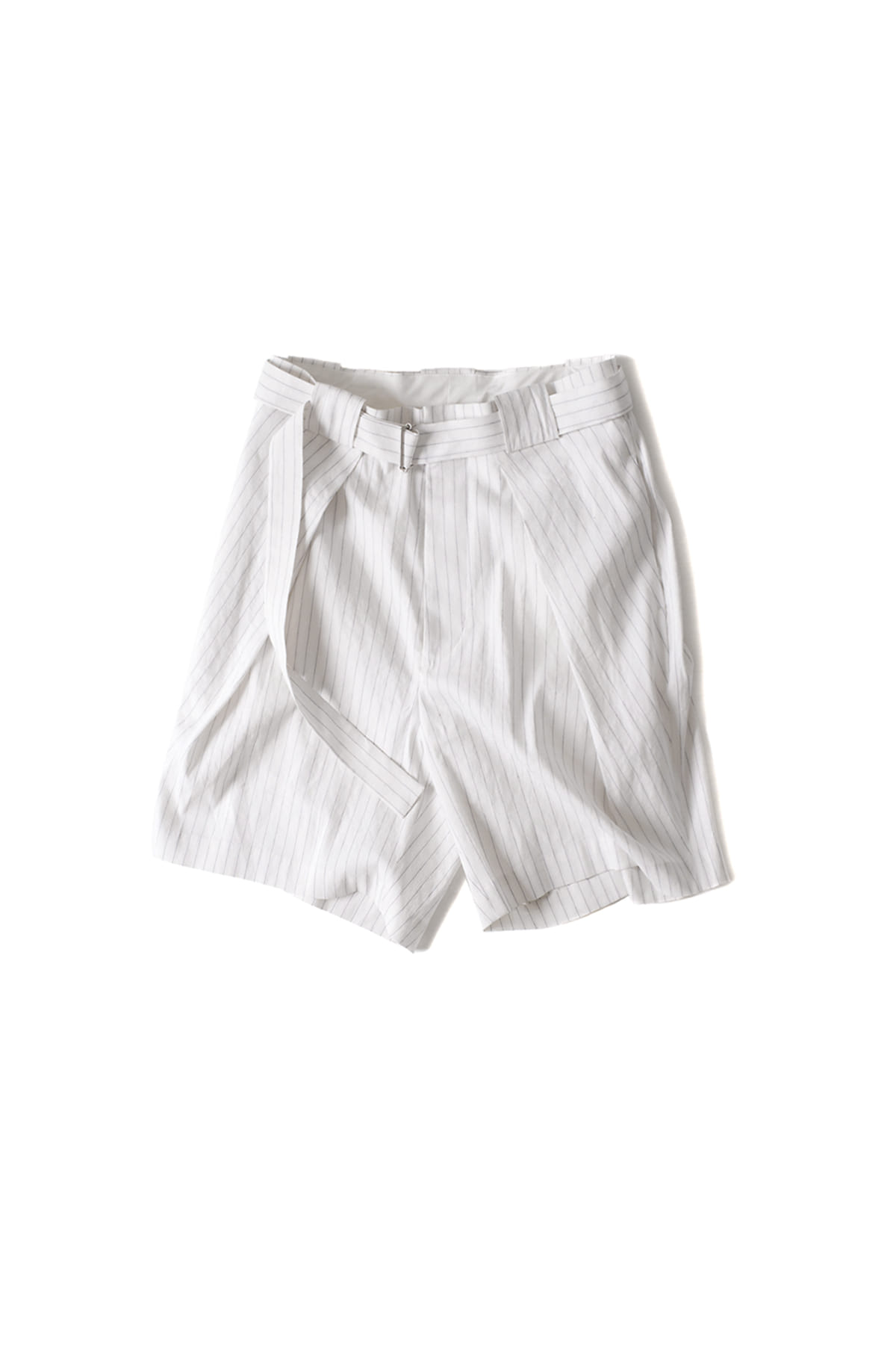 soe : Striped Belted Short Pants (White)