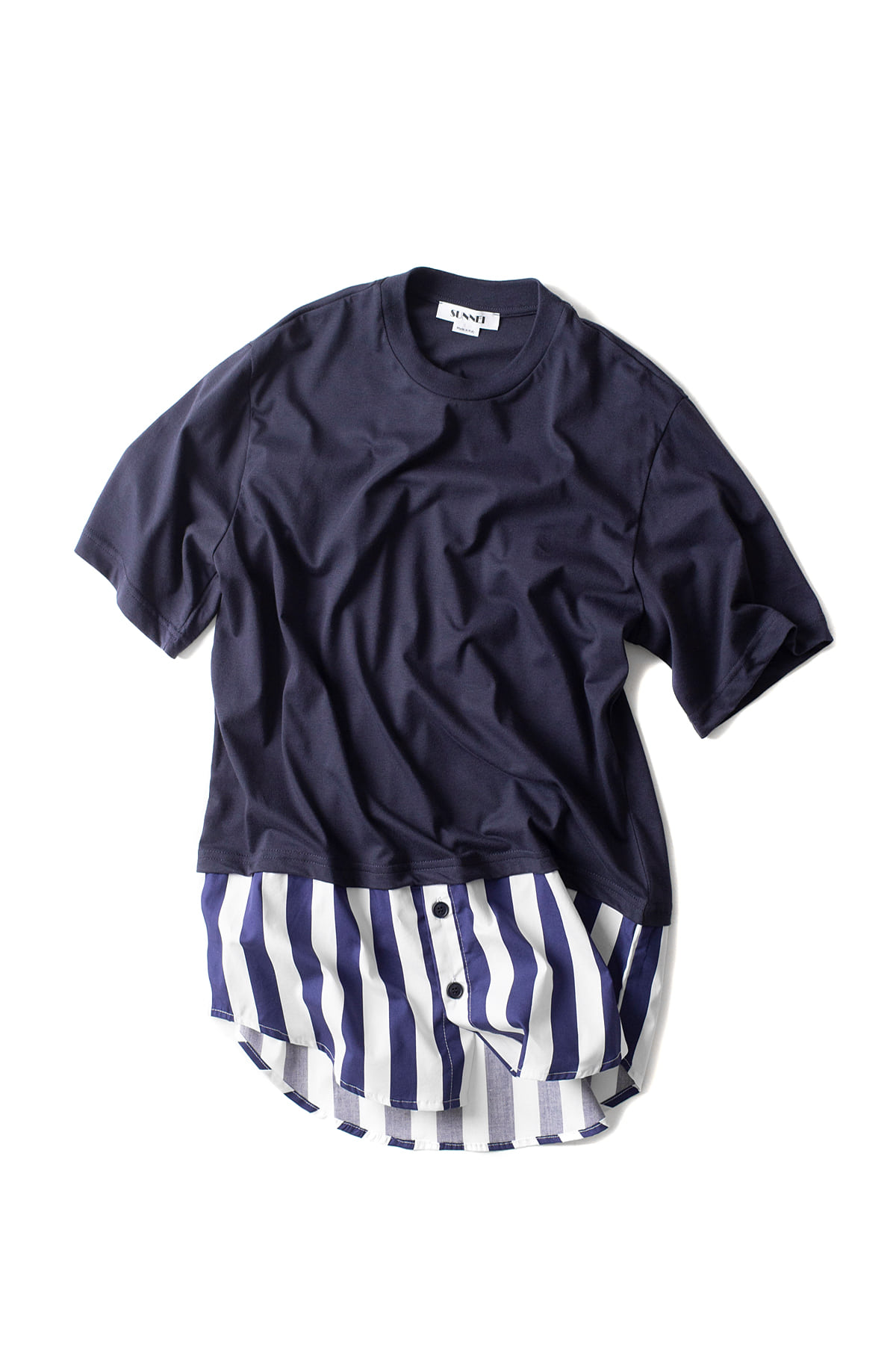 SUNNEI : T-shirt With Popeline (Blue)