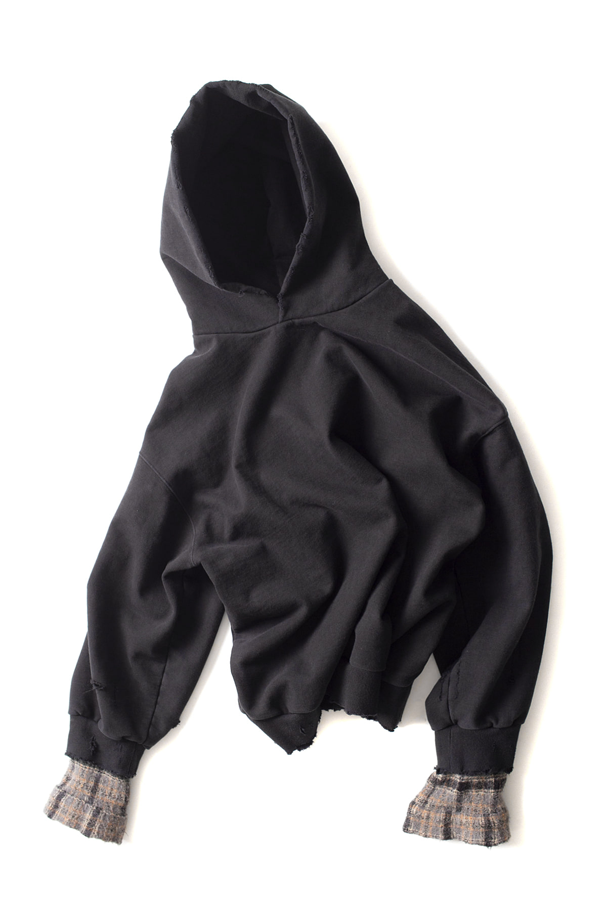 BIRTHDAYSUIT : Wool Check Oversized Hoody (Black)