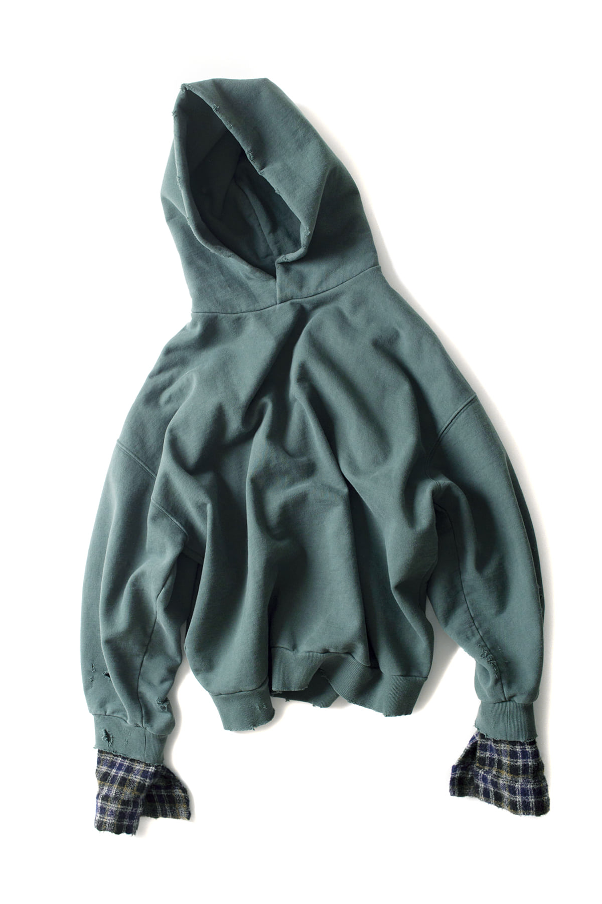 BIRTHDAYSUIT : Wool Check Oversized Hoody (Green)