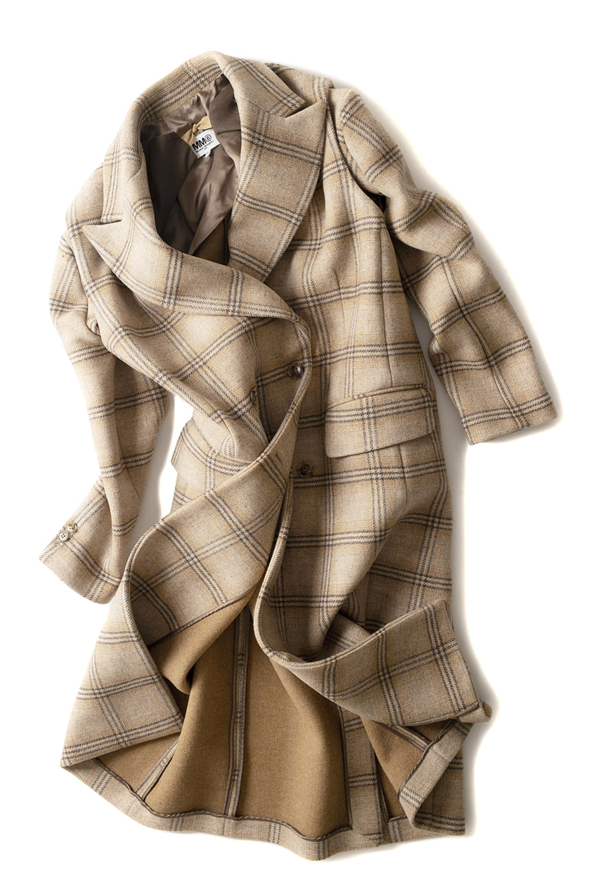 MM6 Maison Margiela : Detachable Sleeve Checked Wool Coat for Women (Check)